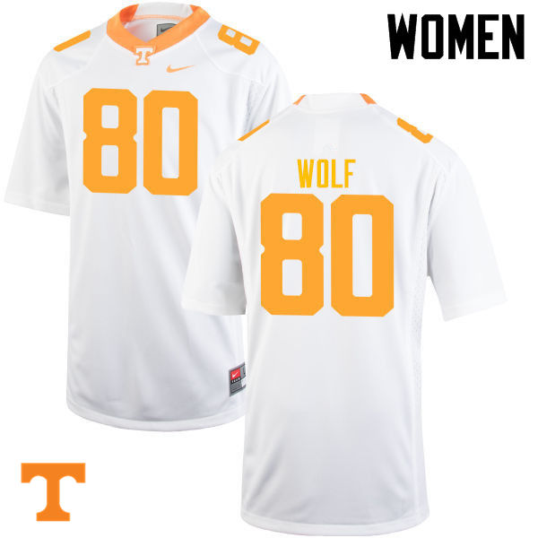 Women #80 Eli Wolf Tennessee Volunteers College Football Jerseys-White