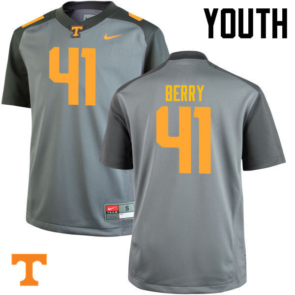 Youth #41 Elliott Berry Tennessee Volunteers College Football Jerseys-Gray