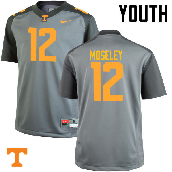 Youth #12 Emmanuel Moseley Tennessee Volunteers College Football Jerseys-Gray