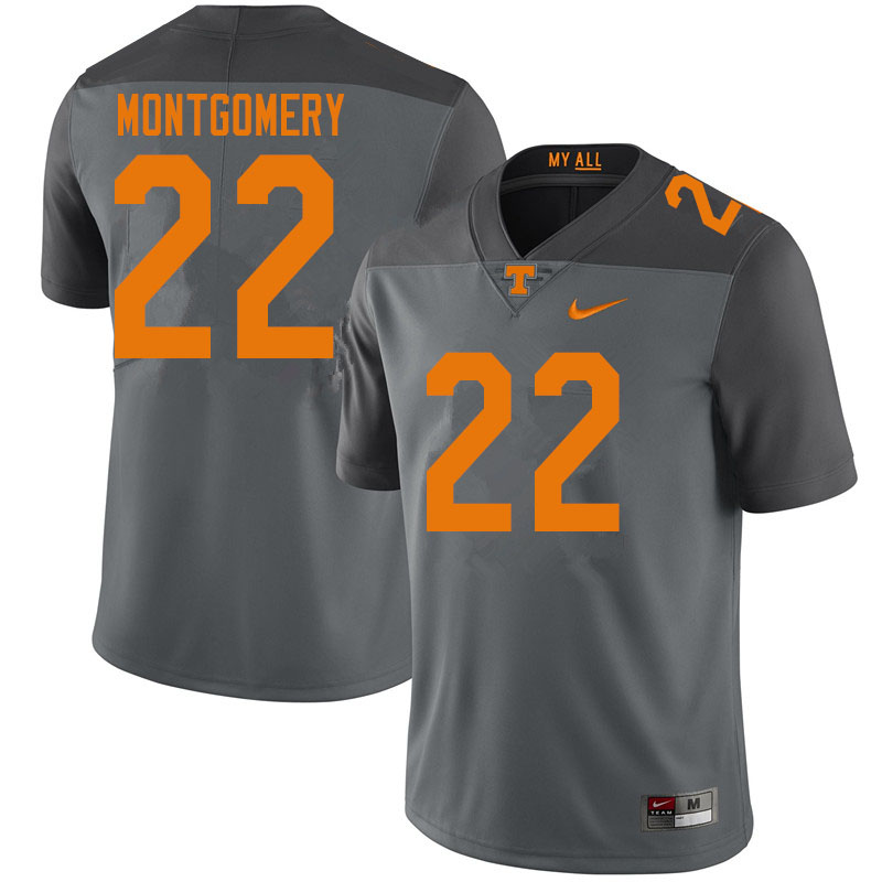 Men #22 Isaiah Montgomery Tennessee Volunteers College Football Jerseys Sale-Gray