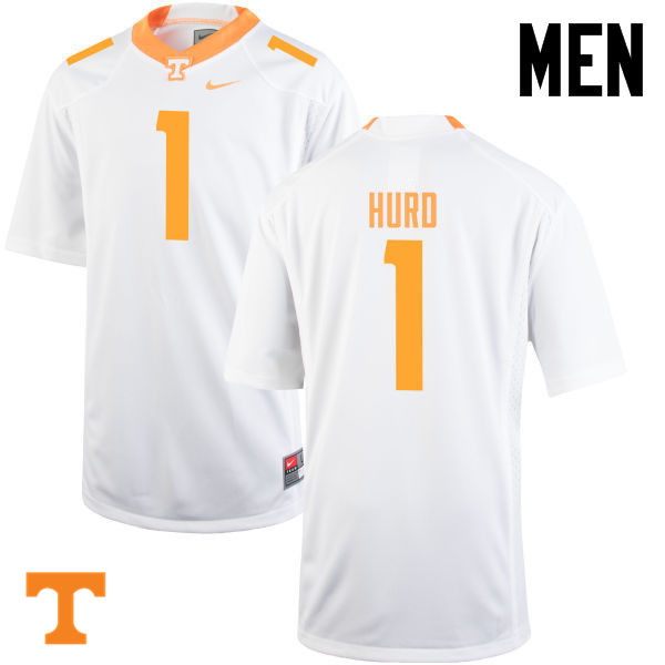 Men #1 Jalen Hurd Tennessee Volunteers College Football Jerseys-White