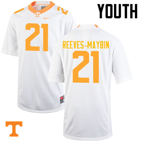 Youth #21 Jalen Reeves-Maybin Tennessee Volunteers College Football Jerseys-White