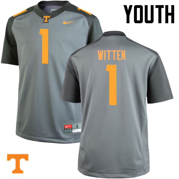 Youth #1 Jason Witten Tennessee Volunteers College Football Jerseys-Gray