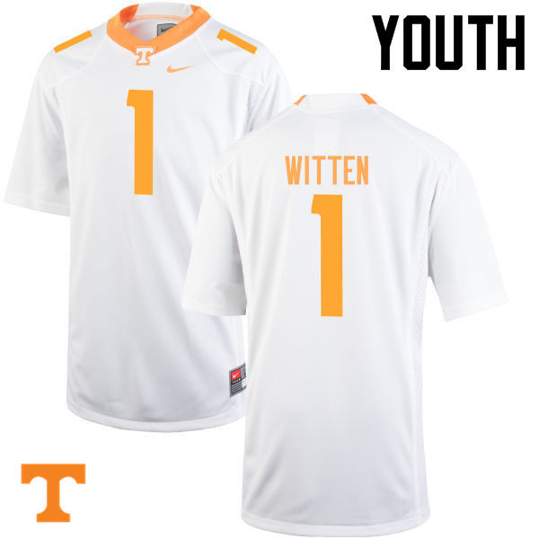 Youth #1 Jason Witten Tennessee Volunteers College Football Jerseys-White