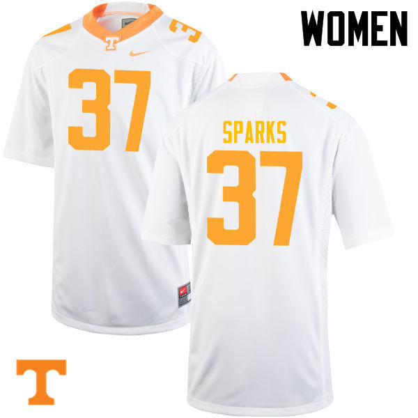 Women #37 Jayson Sparks Tennessee Volunteers College Football Jerseys-White