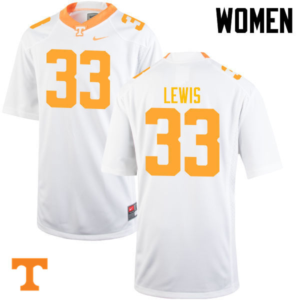 Women #33 Jeremy Lewis Tennessee Volunteers College Football Jerseys-White
