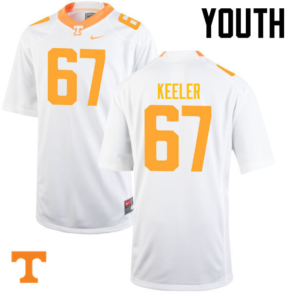 Youth #67 Joe Keeler Tennessee Volunteers College Football Jerseys-White