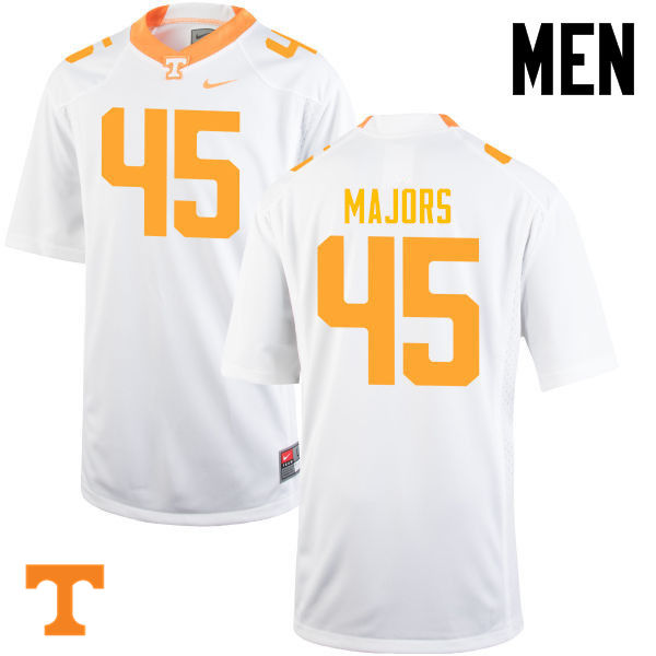 Men #45 Johnny Majors Tennessee Volunteers College Football Jerseys-White
