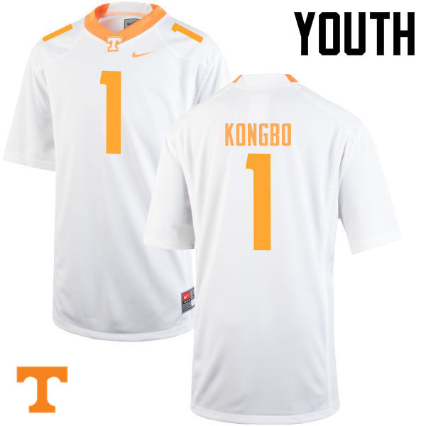 Youth #1 Jonathan Kongbo Tennessee Volunteers College Football Jerseys-White