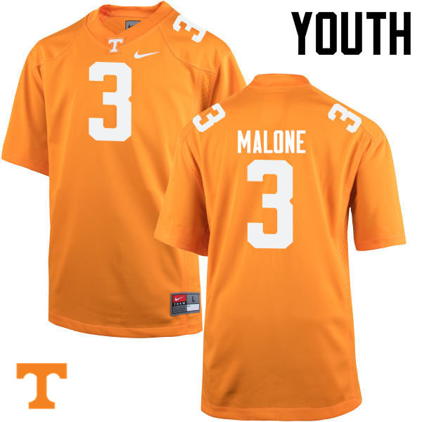 Youth #3 Josh Malone Tennessee Volunteers College Football Jerseys-Orange
