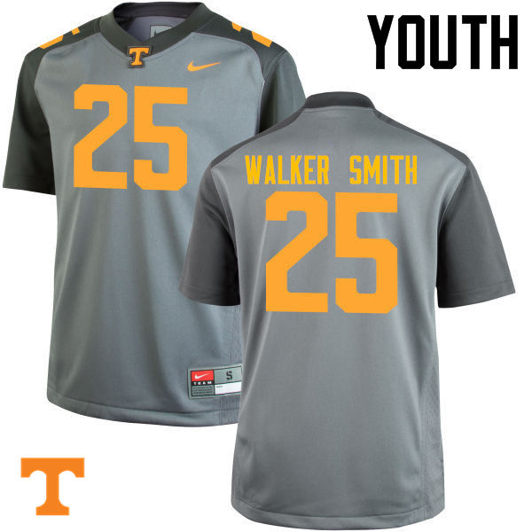 Youth #25 Josh Walker Smith Tennessee Volunteers College Football Jerseys-Gray