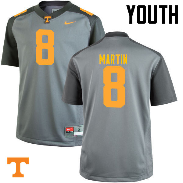 Youth #8 Justin Martin Tennessee Volunteers College Football Jerseys-Gray