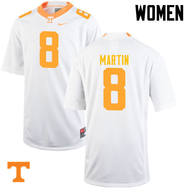 Women #8 Justin Martin Tennessee Volunteers College Football Jerseys-White