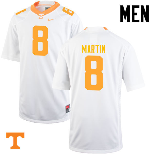 Men #8 Justin Martin Tennessee Volunteers College Football Jerseys-White