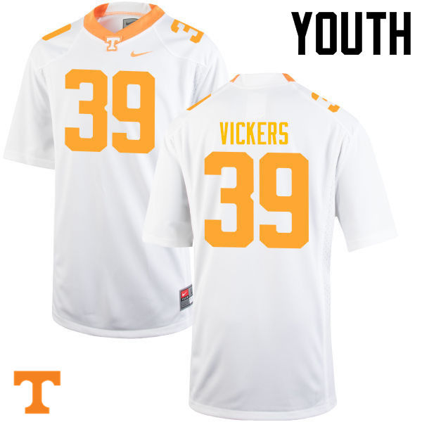 Youth #39 Kendal Vickers Tennessee Volunteers College Football Jerseys-White