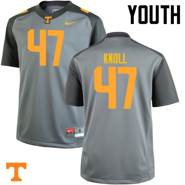 Youth #47 Landon Knoll Tennessee Volunteers College Football Jerseys-Gray