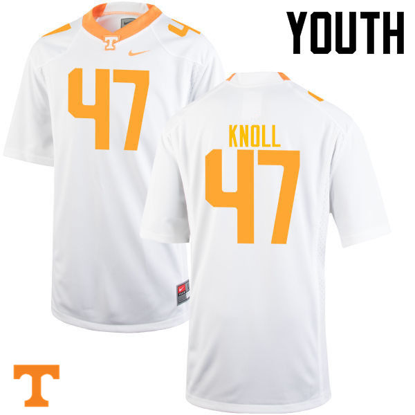 Youth #47 Landon Knoll Tennessee Volunteers College Football Jerseys-White