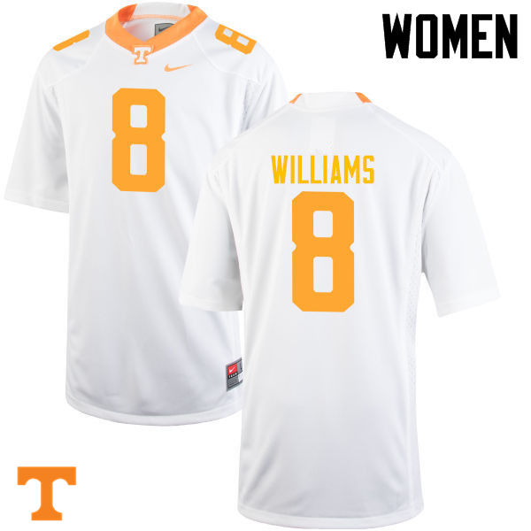 Women #8 Latrell Williams Tennessee Volunteers College Football Jerseys-White