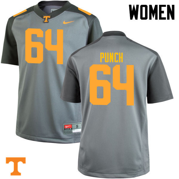 Women #64 Logan Punch Tennessee Volunteers College Football Jerseys-Gray