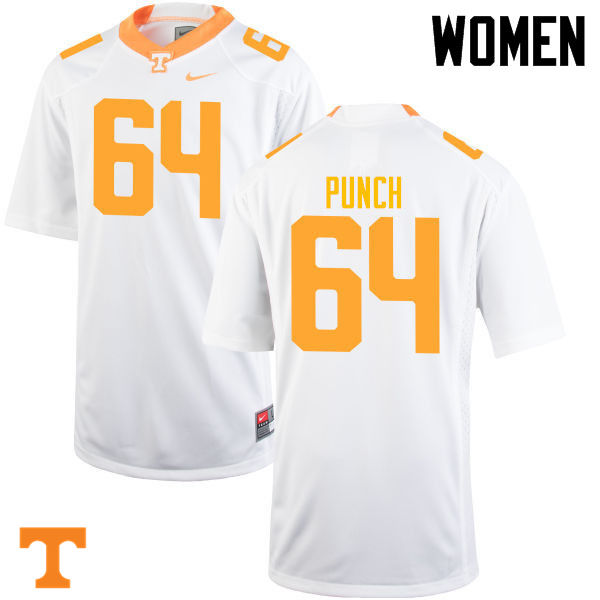 Women #64 Logan Punch Tennessee Volunteers College Football Jerseys-White