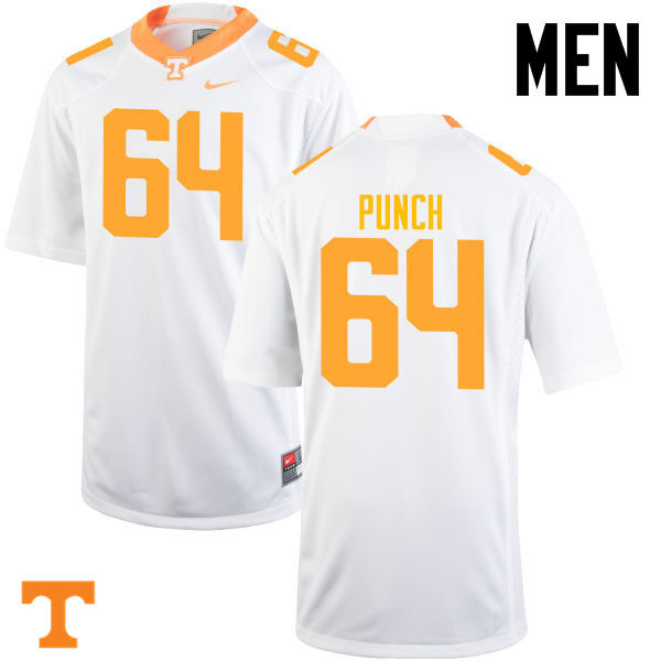 Men #64 Logan Punch Tennessee Volunteers College Football Jerseys-White