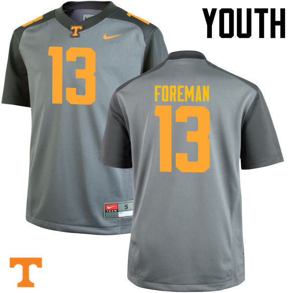 Youth #13 Malik Foreman Tennessee Volunteers College Football Jerseys-Gray