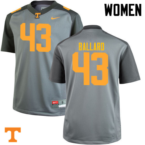 Women #43 Matt Ballard Tennessee Volunteers College Football Jerseys-Gray