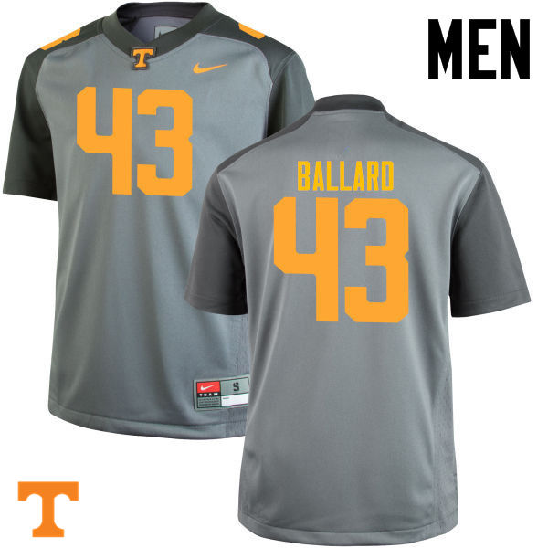 Men #43 Matt Ballard Tennessee Volunteers College Football Jerseys-Gray