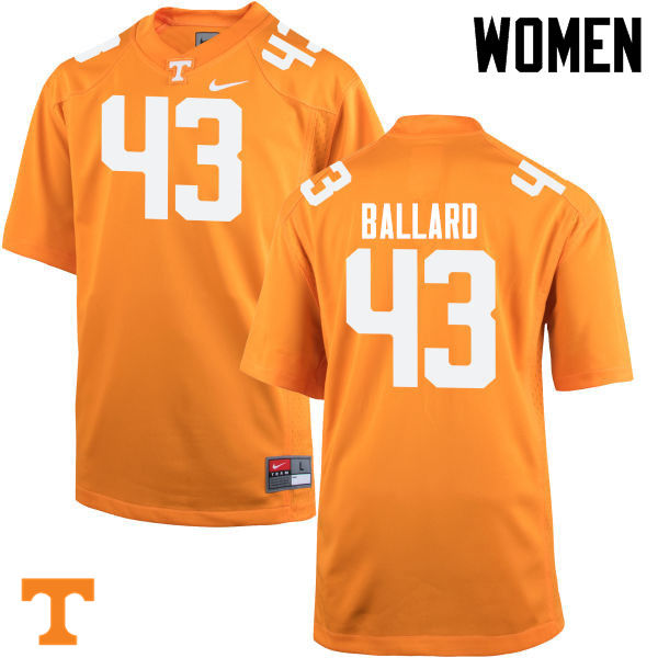 Women #43 Matt Ballard Tennessee Volunteers College Football Jerseys-Orange