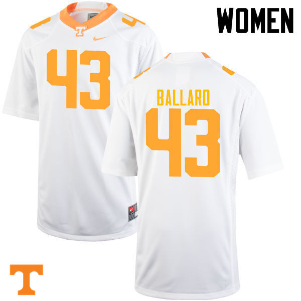 Women #43 Matt Ballard Tennessee Volunteers College Football Jerseys-White
