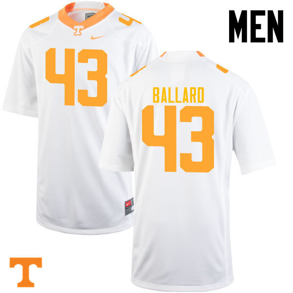 Men #43 Matt Ballard Tennessee Volunteers College Football Jerseys-White