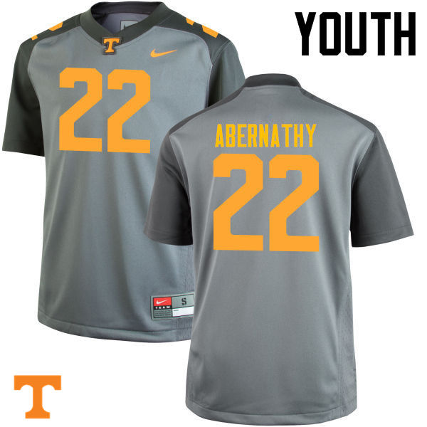 Youth #22 Micah Abernathy Tennessee Volunteers College Football Jerseys-Gray