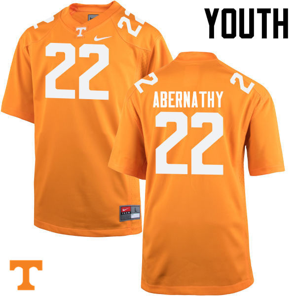 Youth #22 Micah Abernathy Tennessee Volunteers College Football Jerseys-Orange