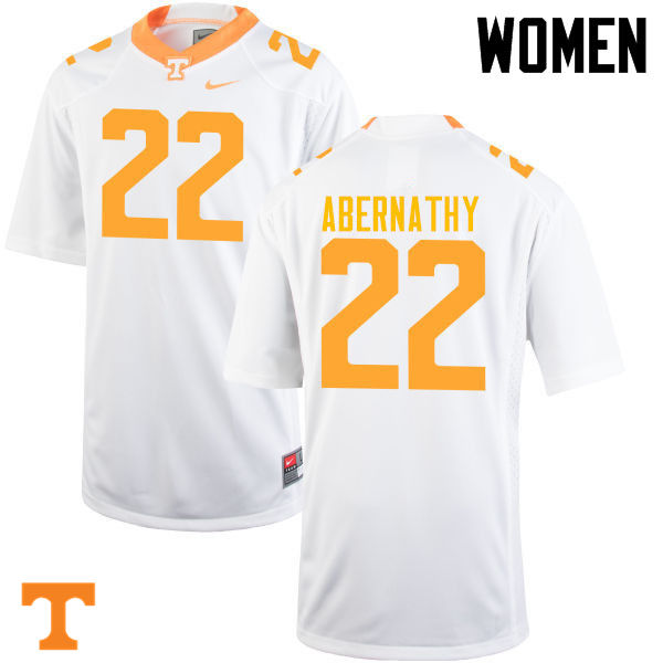 Women #22 Micah Abernathy Tennessee Volunteers College Football Jerseys-White