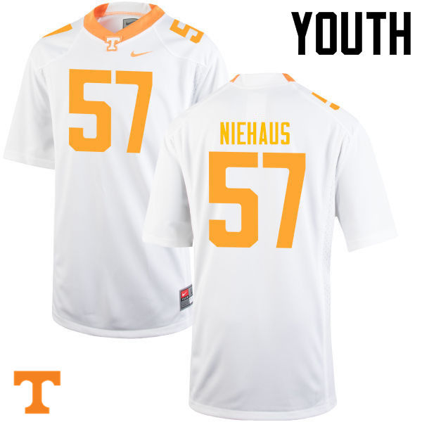 Youth #57 Nathan Niehaus Tennessee Volunteers College Football Jerseys-White