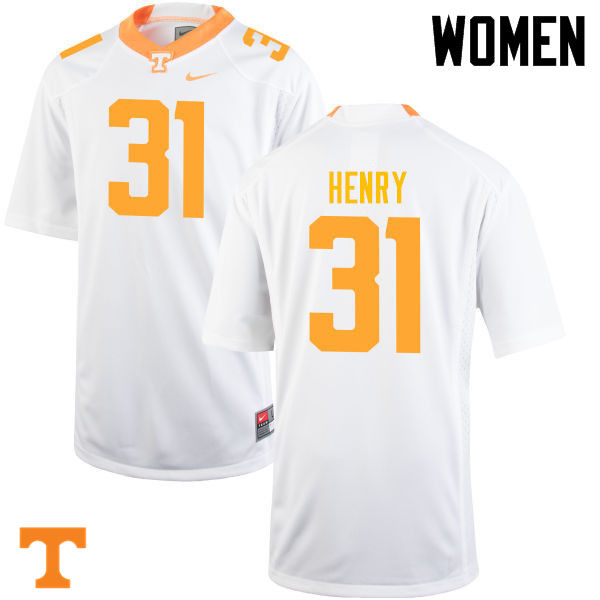 Women #31 Parker Henry Tennessee Volunteers College Football Jerseys-White
