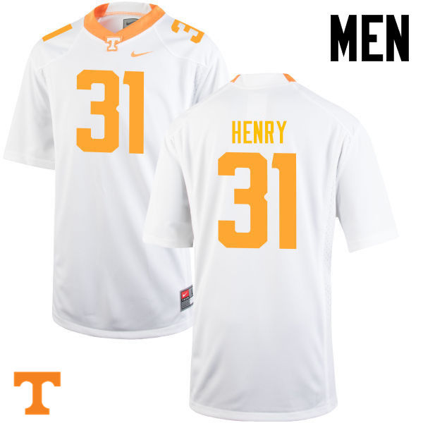 Men #31 Parker Henry Tennessee Volunteers College Football Jerseys-White