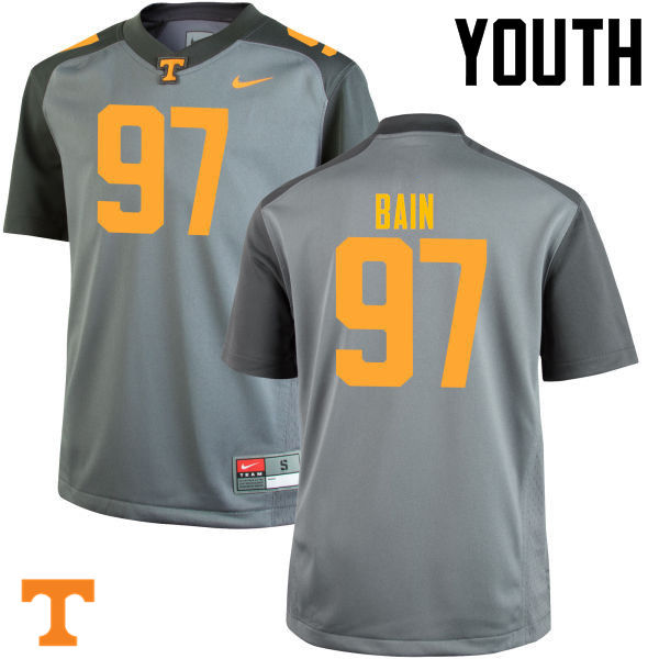 Youth #97 Paul Bain Tennessee Volunteers College Football Jerseys-Gray