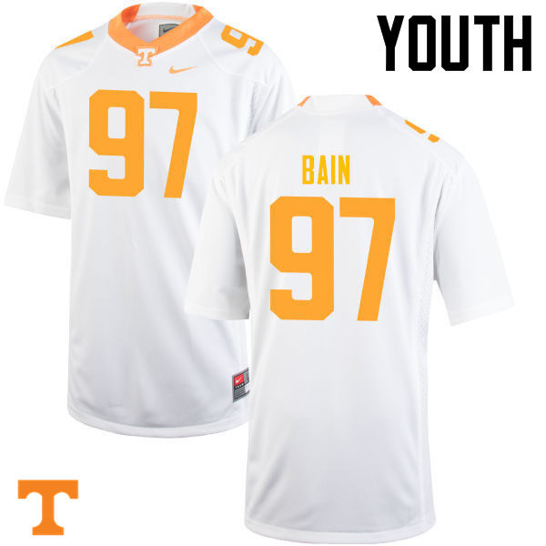 Youth #97 Paul Bain Tennessee Volunteers College Football Jerseys-White