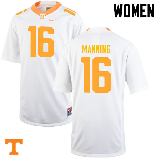 Women #16 Peyton Manning Tennessee Volunteers College Football Jerseys-White