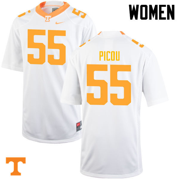 Women #55 Quay Picou Tennessee Volunteers College Football Jerseys-White