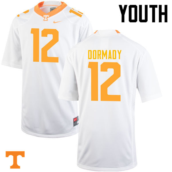 Youth #12 Quinten Dormady Tennessee Volunteers College Football Jerseys-White