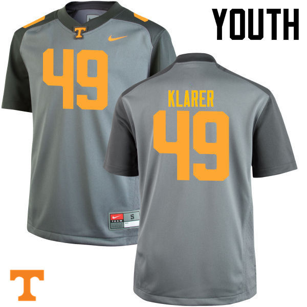 Youth #49 Rudy Klarer Tennessee Volunteers College Football Jerseys-Gray