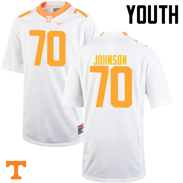 Youth #70 Ryan Johnson Tennessee Volunteers College Football Jerseys-White