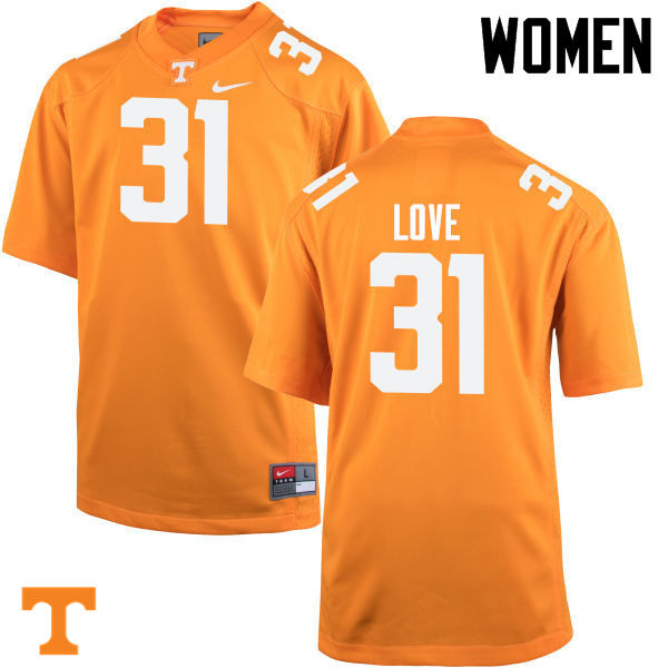 Women #31 Stedman Love Tennessee Volunteers College Football Jerseys-Orange