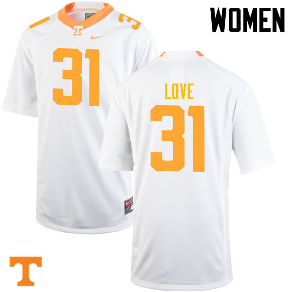 Women #31 Stedman Love Tennessee Volunteers College Football Jerseys-White