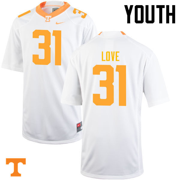 Youth #31 Stedman Love Tennessee Volunteers College Football Jerseys-White