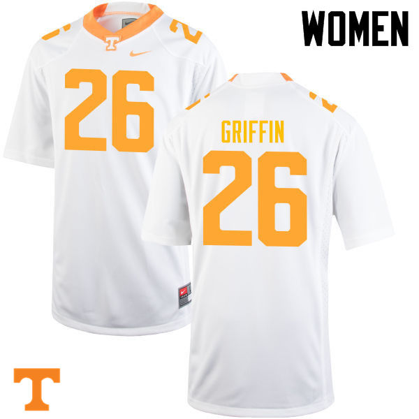 Women #26 Stephen Griffin Tennessee Volunteers College Football Jerseys-White