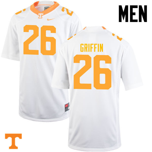 Men #26 Stephen Griffin Tennessee Volunteers College Football Jerseys-White