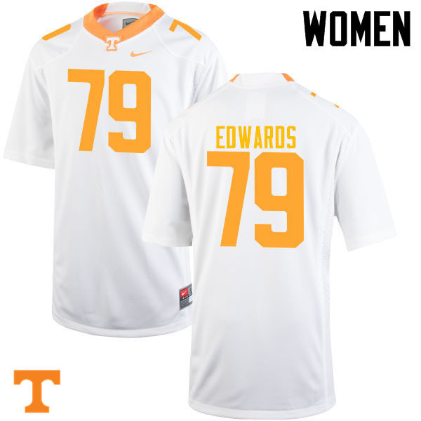 Women #79 Thomas Edwards Tennessee Volunteers College Football Jerseys-White